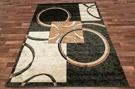circle square modern area rug black green two tone brown beige hallway runner