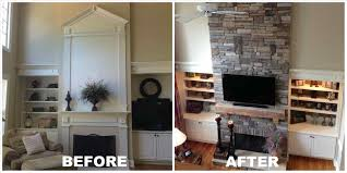 interior stone fireplace remodel before and after stone fireplace design charlotte nc masters group remodels years