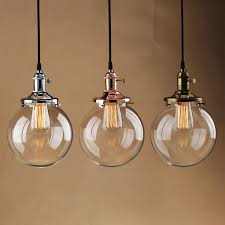 vintage pendant light glass globe shade ceiling lamp with edison bulb