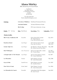 Performing Arts Resume Examples Resume Template Example for Performing Arts with Theatre Credits 1