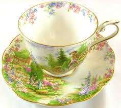 Decorating With Teacups And Saucers ROYAL ALBERT Kentish Rockery TEA CUP SAUCER vintage Bone England 72