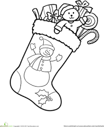 Small Picture Christmas Stocking Coloring Worksheet Educationcom