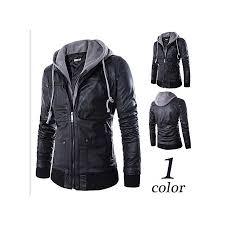 refined plus size detachable hooded men faux leather jacket black biker motorcycle mens pu leather coat