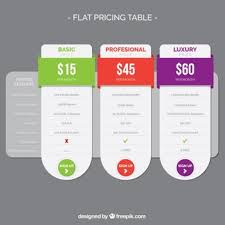 table graphic design. flat pricing table with color details graphic design