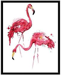 generic 3d flamingo digital diy oil painting by numbers wall decor on canvas oil paint coloring by number drawing 16 x 20 in