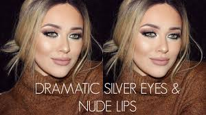 winter glam makeup tutorial new years eve inspired dramatic silver eyes lips you