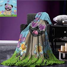 pug throw blanket adorable puppy on the field flowers erflies heart shaped clouds open sky miracle