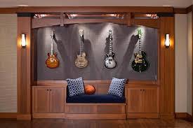 guitar room design family room contemporary with guitar wall art