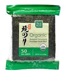 nori sheet amazon com one organic sushi nori premium roasted organic seaweed