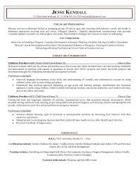 Sample Child Care Resume