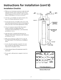 Water Heater Breaker Size Chart Instructions For Installation Contd Installation