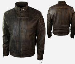 vintage biker motorcycle jacket distressed real leather zoom helmet
