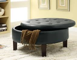 cool leather storage ottomans to perfecting your living room furniture round leather storage ottoman black