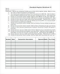 Checkbook Register Worksheet Check Form Free Sample
