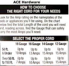 extension cords extension cord size gauge chart ace hardware