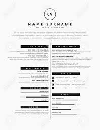 Cv Resume Template Design For A Creative Person Vector Minimalist