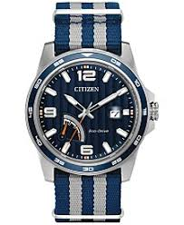 citizen eco drive watches macy s citizen men s eco drive sport blue and gray nylon strap watch 41mm aw7038 04l