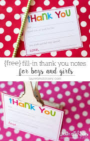 Fill In Printable Thank You Notes For Kids Stationery Template Free
