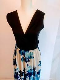 Details About Womens Flowers Floral Summer Dress Blue White Avon Medium Sleeveless