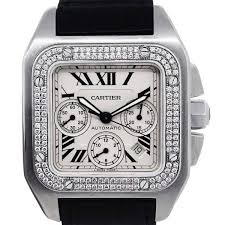 cartier santos 100 xl diamond bezel leather watch product image