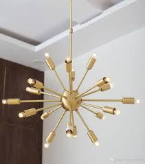modern sputnik chandelier 18 light brushed brass mid century suspension pendant lighting for dinning room kitchen foyer plug in hanging lamp designer