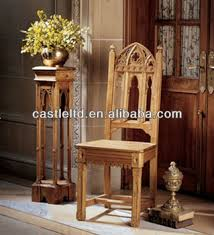 hand carved gothic chair antique solid light oak wood dining chair high back chair
