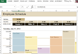 Excel Templates Work Schedule Employee Schedule Hourly Increment Template For Excel