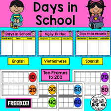 Freebie Days In School Chart With Ten Frames English