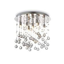 moonlight crystal 8 light flush ceiling light polished chrome