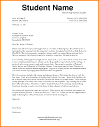 high school student cover letter example of application letter for students cover letter for high