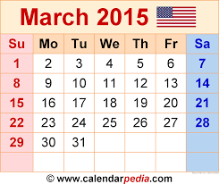 2015 monthly calendar march 2015 calendars for word excel pdf