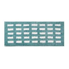 kagen 24 x 60 high pile tufted bath rug reversible stripes to box pattern in aqua blue