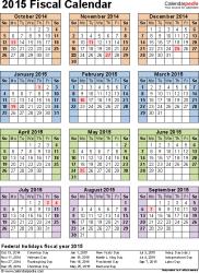 Calendar Year Quarters Fiscal Calendars 2015 Free Printable Pdf Templates