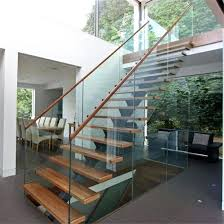 interior glass stair railing systems china prefab steel wood straight staircase with glass stair railing