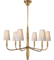 visual comfort tob5018hab np thomas obrien farlane 6 light 34 inch hand rubbed antique brass chandelier ceiling light in none natural paper