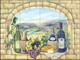 tuscan wine tile mural