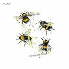 Tcool Bee временные татуировки наклейки акварельные татуировки для женщин мода