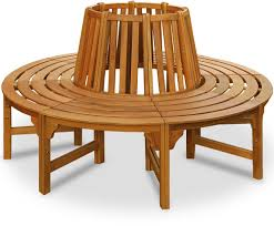 Round Wooden Tree Bench Large Garden Circular Patio Outdoor Seat Wood  Furniture