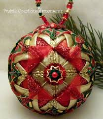 Quilted Ball Ornament Pattern | Christmas ornament | Pinterest ... & Red and Gold Folded Ribbon Quilted Christmas Ball Ornament Adamdwight.com
