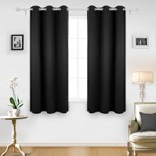 deconovo room darkening thermal insulated blackout grommet window curtain for living room black 42x63 inch 1 panel