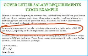 Salary Requirements On A Resumes Simple Cover Letter With Salary Requirements Which Can Be