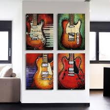 4 piece guitar lovers canvas wall art sets it make your day on guitar canvas wall art red with 4 piece guitar lovers canvas wall art sets it make your day