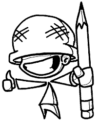 Chibi Pencil Soldier Coloring Page | Wecoloringpage