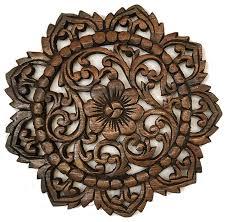 round teak wood oriental carved wall plaque 12