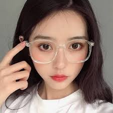 Korean version <b>transparent white</b> frame spectacle female <b>retro</b> ...