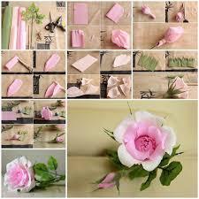 Rose Paper Flower Making Diy Beautiful Pink Crepe Paper Rose