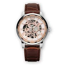 Leather Men's Mechanical Watch Rose Gold Skeleton ... - Amazon.com