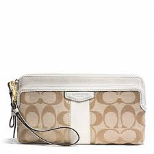 COACH f51155 SIGNATURE STRIPE 12CM DOUBLE ZIP WALLET BRASS LIGHT KHAKI IVORY