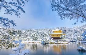 Wallpaper Winter Snow Trees Pond Park Japan Temple