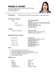 Tagalog Resume Format Resume Template Sample